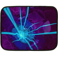 Beautiful Bioluminescent Sea Anemone Fractalflower Double Sided Fleece Blanket (mini)  by jayaprime