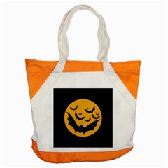 Bats Moon Night Halloween Black Accent Tote Bag by Alisyart