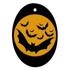 Bats Moon Night Halloween Black Oval Ornament (two Sides) by Alisyart