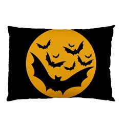 Bats Moon Night Halloween Black Pillow Case (two Sides) by Alisyart