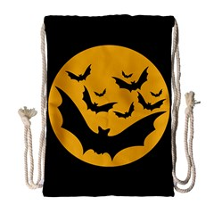 Bats Moon Night Halloween Black Drawstring Bag (large)