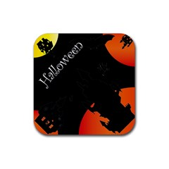 Castil Witch Hlloween Sinister Night Home Bats Rubber Square Coaster (4 Pack)  by Alisyart