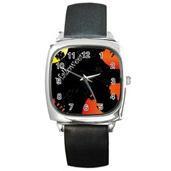 Castil Witch Hlloween Sinister Night Home Bats Square Metal Watch by Alisyart