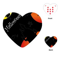 Castil Witch Hlloween Sinister Night Home Bats Playing Cards (heart)  by Alisyart