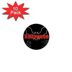 Halloween Bat Black Night Sinister Ghost 1  Mini Magnet (10 Pack)  by Alisyart