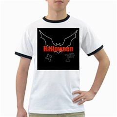 Halloween Bat Black Night Sinister Ghost Ringer T Shirts