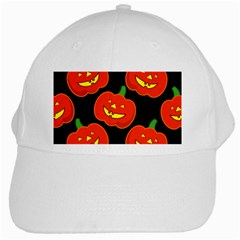 Halloween Party Pumpkins Face Smile Ghost Orange Black White Cap by Alisyart