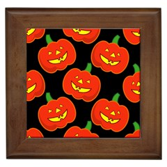 Halloween Party Pumpkins Face Smile Ghost Orange Black Framed Tiles