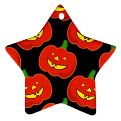 Halloween Party Pumpkins Face Smile Ghost Orange Black Ornament (star) by Alisyart