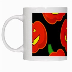 Halloween Party Pumpkins Face Smile Ghost Orange Black White Mugs by Alisyart