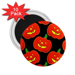 Halloween Party Pumpkins Face Smile Ghost Orange Black 2 25  Magnets (10 Pack)