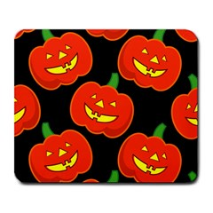 Halloween Party Pumpkins Face Smile Ghost Orange Black Large Mousepads by Alisyart