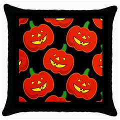 Halloween Party Pumpkins Face Smile Ghost Orange Black Throw Pillow Case (black)