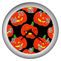 Halloween Party Pumpkins Face Smile Ghost Orange Black Wall Clocks (silver)  by Alisyart
