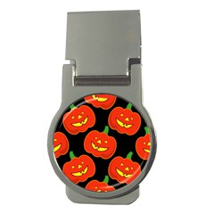 Halloween Party Pumpkins Face Smile Ghost Orange Black Money Clips (round)  by Alisyart