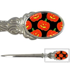 Halloween Party Pumpkins Face Smile Ghost Orange Black Letter Openers by Alisyart