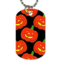 Halloween Party Pumpkins Face Smile Ghost Orange Black Dog Tag (two Sides)