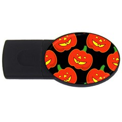 Halloween Party Pumpkins Face Smile Ghost Orange Black Usb Flash Drive Oval (2 Gb) by Alisyart