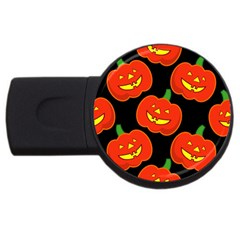 Halloween Party Pumpkins Face Smile Ghost Orange Black Usb Flash Drive Round (4 Gb) by Alisyart