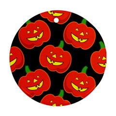 Halloween Party Pumpkins Face Smile Ghost Orange Black Round Ornament (two Sides)