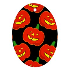 Halloween Party Pumpkins Face Smile Ghost Orange Black Oval Ornament (two Sides) by Alisyart