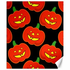 Halloween Party Pumpkins Face Smile Ghost Orange Black Canvas 8  X 10  by Alisyart