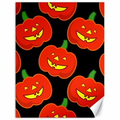 Halloween Party Pumpkins Face Smile Ghost Orange Black Canvas 18  X 24   by Alisyart