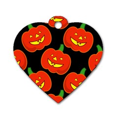 Halloween Party Pumpkins Face Smile Ghost Orange Black Dog Tag Heart (one Side) by Alisyart