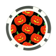 Halloween Party Pumpkins Face Smile Ghost Orange Black Poker Chip Card Guard