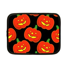 Halloween Party Pumpkins Face Smile Ghost Orange Black Netbook Case (small)  by Alisyart