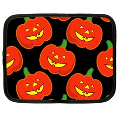 Halloween Party Pumpkins Face Smile Ghost Orange Black Netbook Case (large) by Alisyart