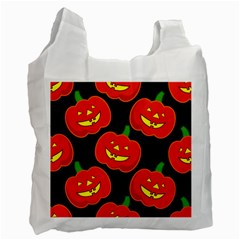 Halloween Party Pumpkins Face Smile Ghost Orange Black Recycle Bag (two Side)