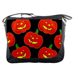 Halloween Party Pumpkins Face Smile Ghost Orange Black Messenger Bags by Alisyart