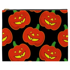 Halloween Party Pumpkins Face Smile Ghost Orange Black Cosmetic Bag (xxxl)