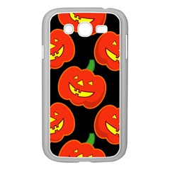 Halloween Party Pumpkins Face Smile Ghost Orange Black Samsung Galaxy Grand Duos I9082 Case (white)