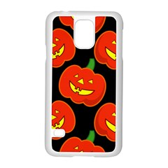 Halloween Party Pumpkins Face Smile Ghost Orange Black Samsung Galaxy S5 Case (white)