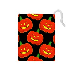 Halloween Party Pumpkins Face Smile Ghost Orange Black Drawstring Pouches (medium)  by Alisyart