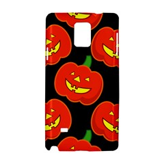 Halloween Party Pumpkins Face Smile Ghost Orange Black Samsung Galaxy Note 4 Hardshell Case by Alisyart