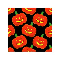 Halloween Party Pumpkins Face Smile Ghost Orange Black Small Satin Scarf (square)
