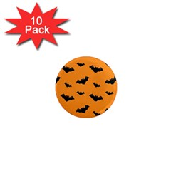Halloween Bat Animals Night Orange 1  Mini Magnet (10 Pack)  by Alisyart