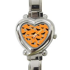 Halloween Bat Animals Night Orange Heart Italian Charm Watch by Alisyart