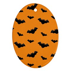 Halloween Bat Animals Night Orange Oval Ornament (two Sides)