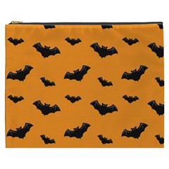 Halloween Bat Animals Night Orange Cosmetic Bag (xxxl)