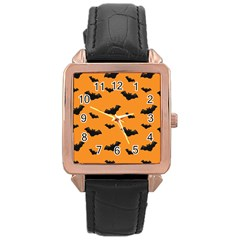 Halloween Bat Animals Night Orange Rose Gold Leather Watch  by Alisyart