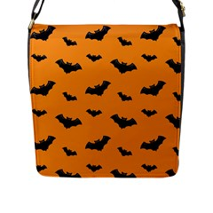 Halloween Bat Animals Night Orange Flap Messenger Bag (l)
