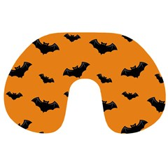 Halloween Bat Animals Night Orange Travel Neck Pillows by Alisyart