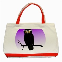 Halloween Owl Bird Animals Night Classic Tote Bag (red) by Alisyart