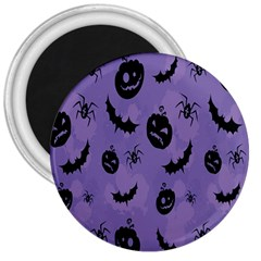 Halloween Pumpkin Bat Spider Purple Black Ghost Smile 3  Magnets by Alisyart