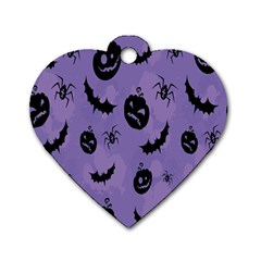 Halloween Pumpkin Bat Spider Purple Black Ghost Smile Dog Tag Heart (two Sides) by Alisyart