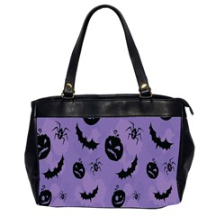 Halloween Pumpkin Bat Spider Purple Black Ghost Smile Office Handbags (2 Sides)  by Alisyart
